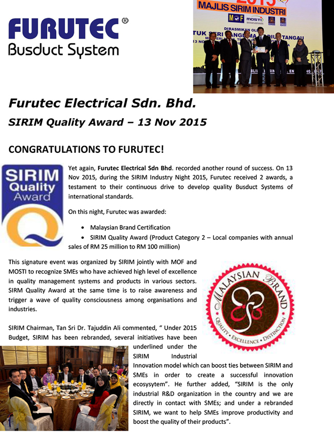 SIRIM Quality Award - Nov 2015-1